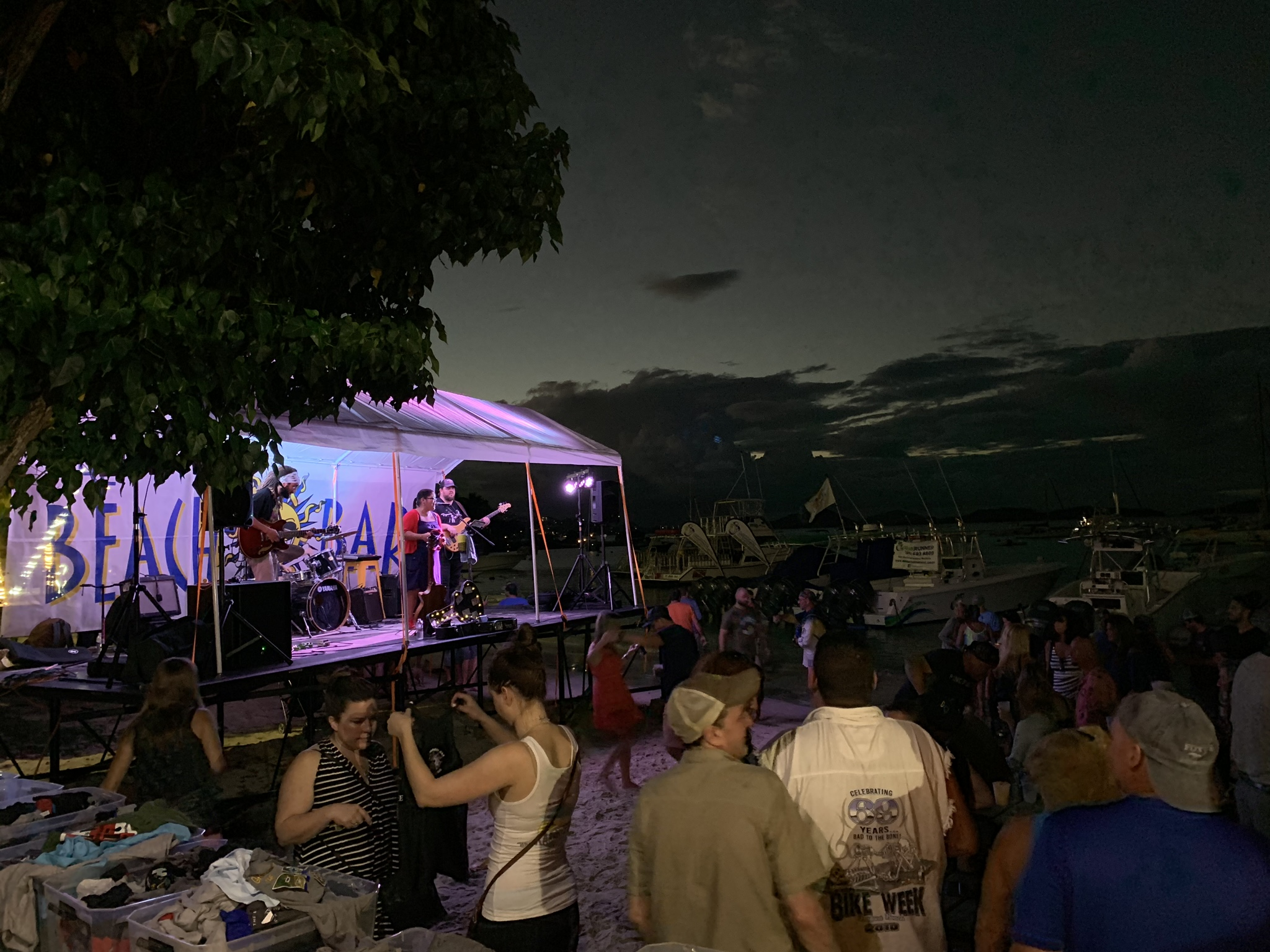 Music played under the tent at night