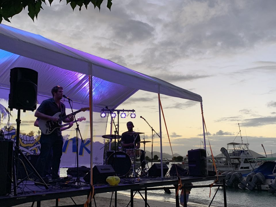 Music played under the tent at dusk
