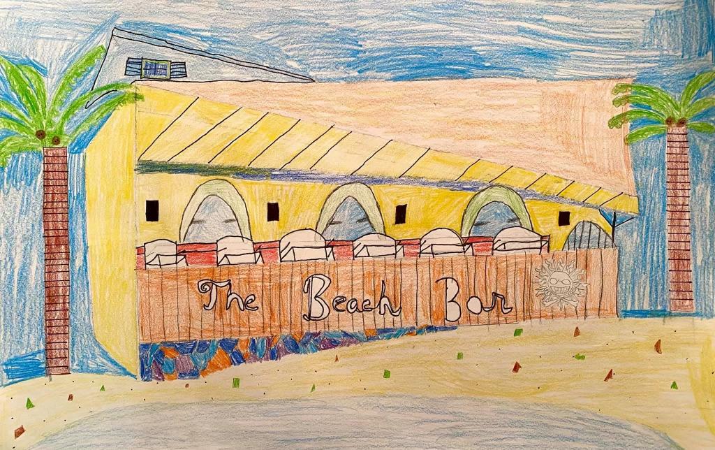 crayon drawing of the beach bar